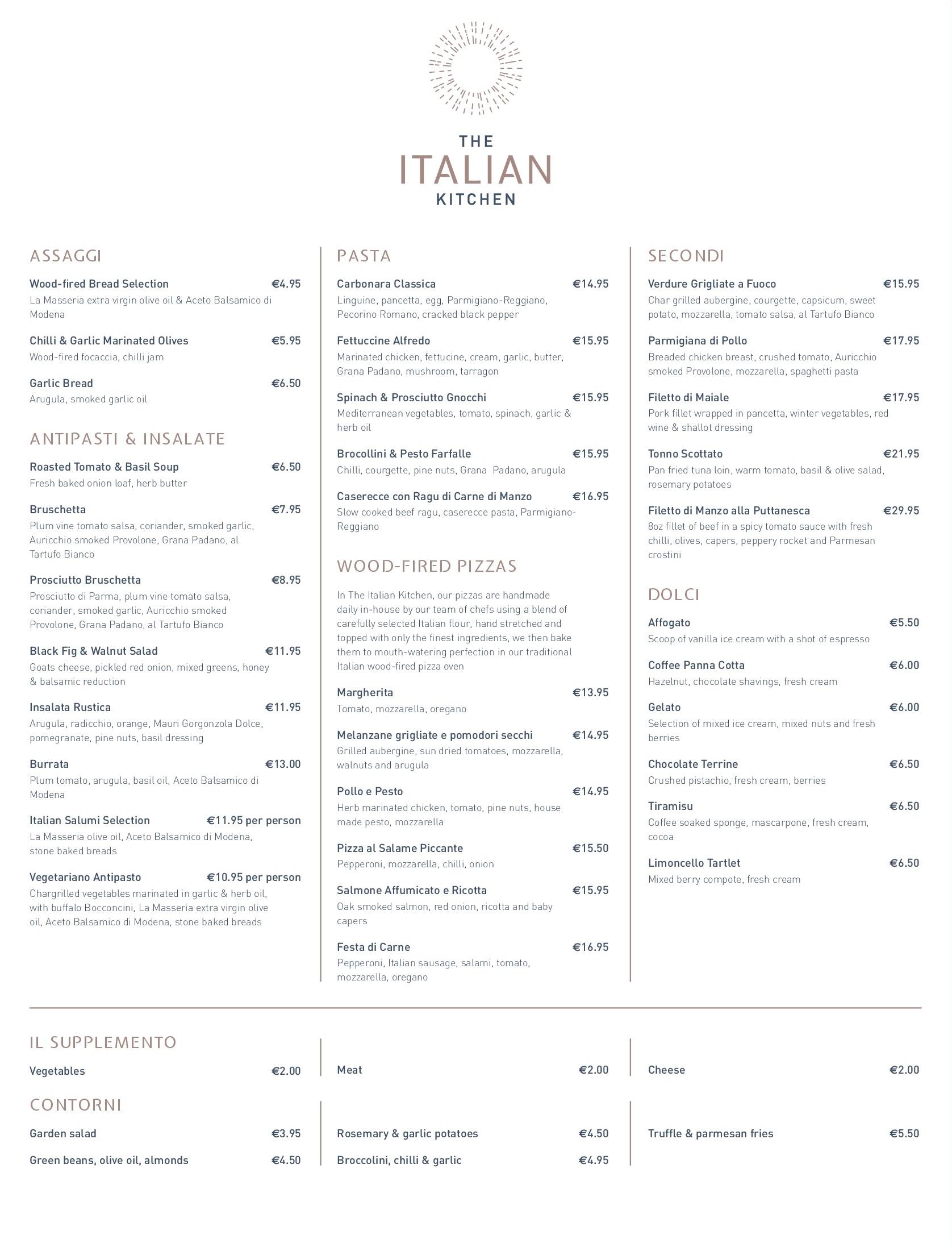 A la carte menu