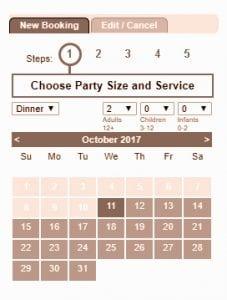 booking calendar at the italian kitchen dublin