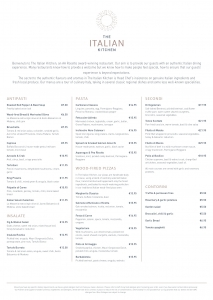 Italian Restaurant Menu - The Italian Kitchen