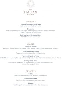 The Italian Kitchen Set Menu