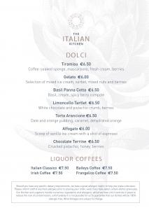 Italian Dessert Menu