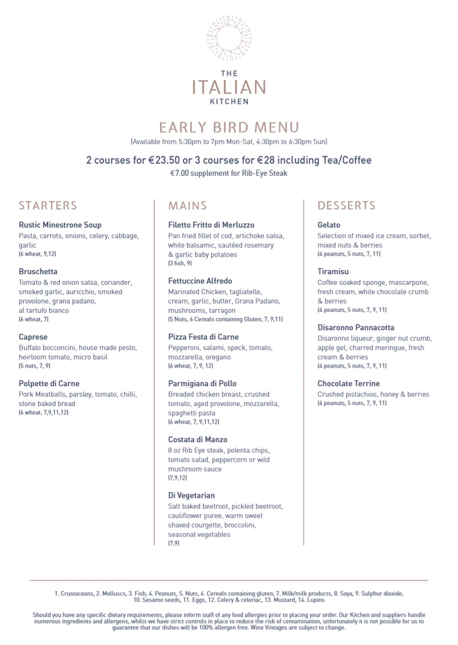 Early Bird Menu Page 1