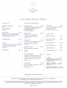 Call & Collect menu
